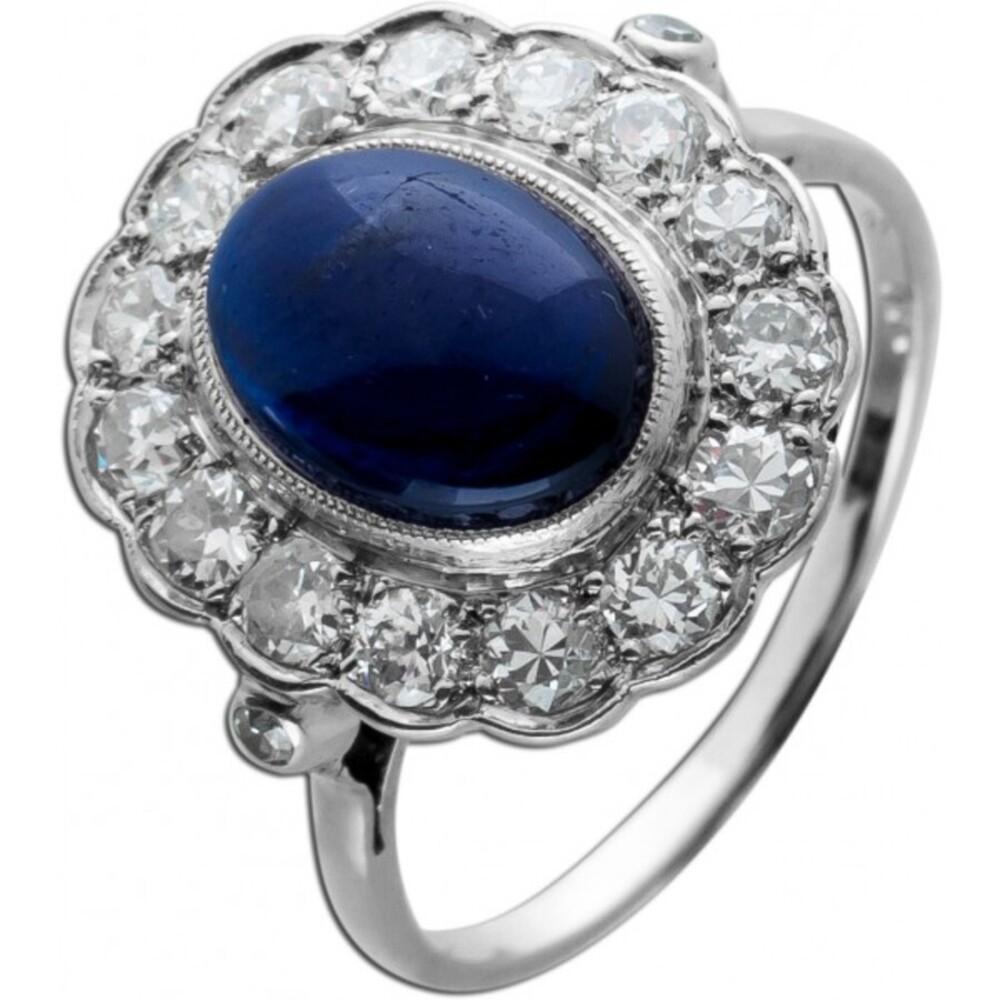 Antiker Saphir Brillantring 1920 Platin 950 blau leuchtender Saphir funkelnde Brillanten Unikat mit Görg Zertifikat