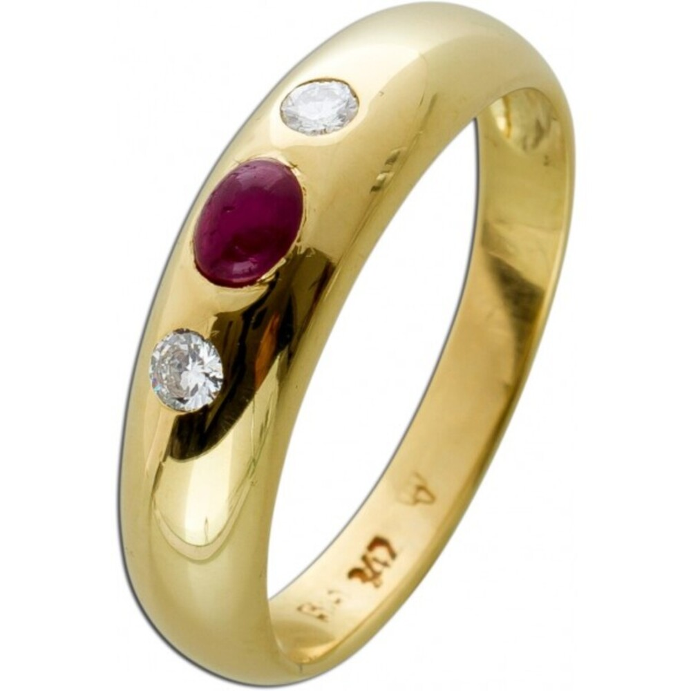 Exclusiver Ring Gelbgold 585 2 Brillanten je 0,05ct TW/SI total 0,10ct 1 Rubin Gr.18mm