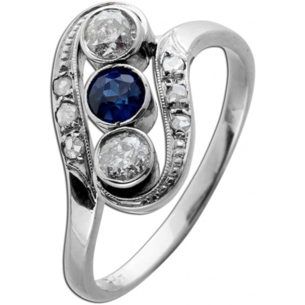 Antiker WG 585 Ring ArtDeco 1920 2 Brillanten 0,40ct TW/SI1 6 Diamanten 0,10ct Gr 17,5mm