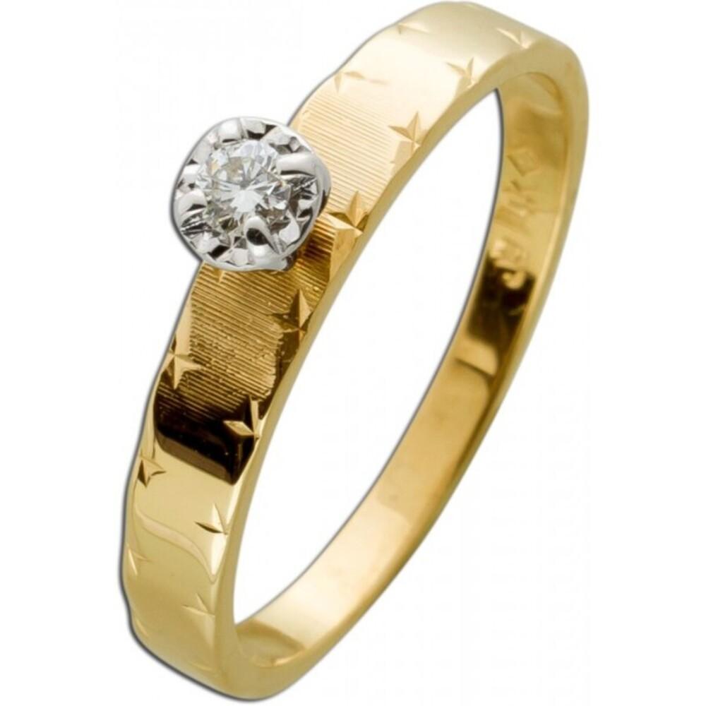 Solitär Brillant Ring Gelbgold 585 1 Diamant 0,06ct TW/VSI 2,1 Gramm Gr.17mm