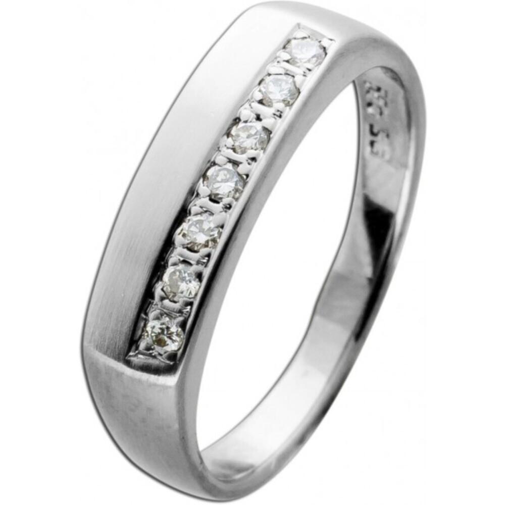 Diamant Ring Weiss Gold 585 7 Brillanten 0,14ct TW/SI 3 Gramm Gr.16,8mm