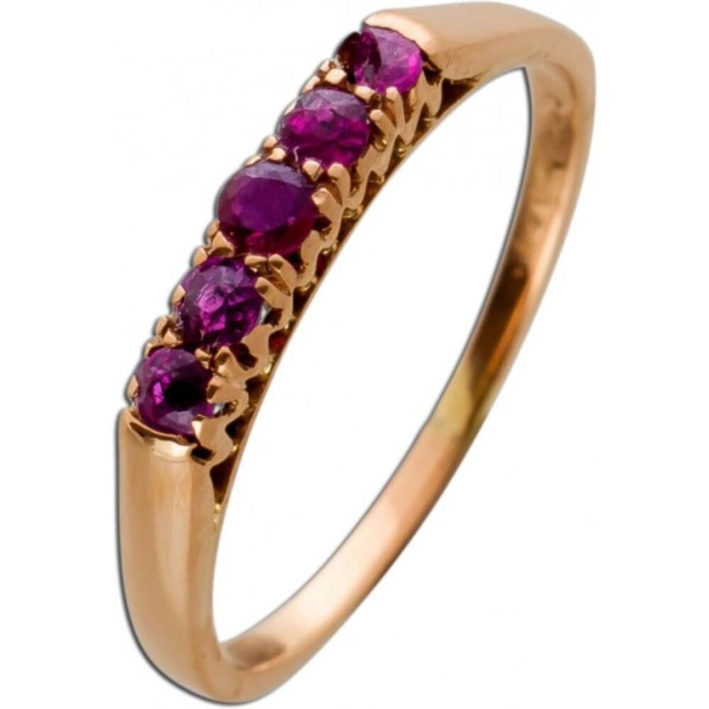 Antiker Rose Gold Ring 585 5 echte rote Rubin Edelsteine Gr.17,5mm