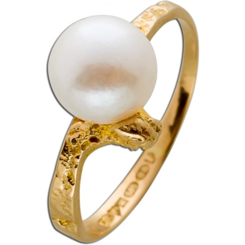 Ring Gelb Gold 585 Lapponia Design 1 feine Akoyaperle Gr.17,2mm