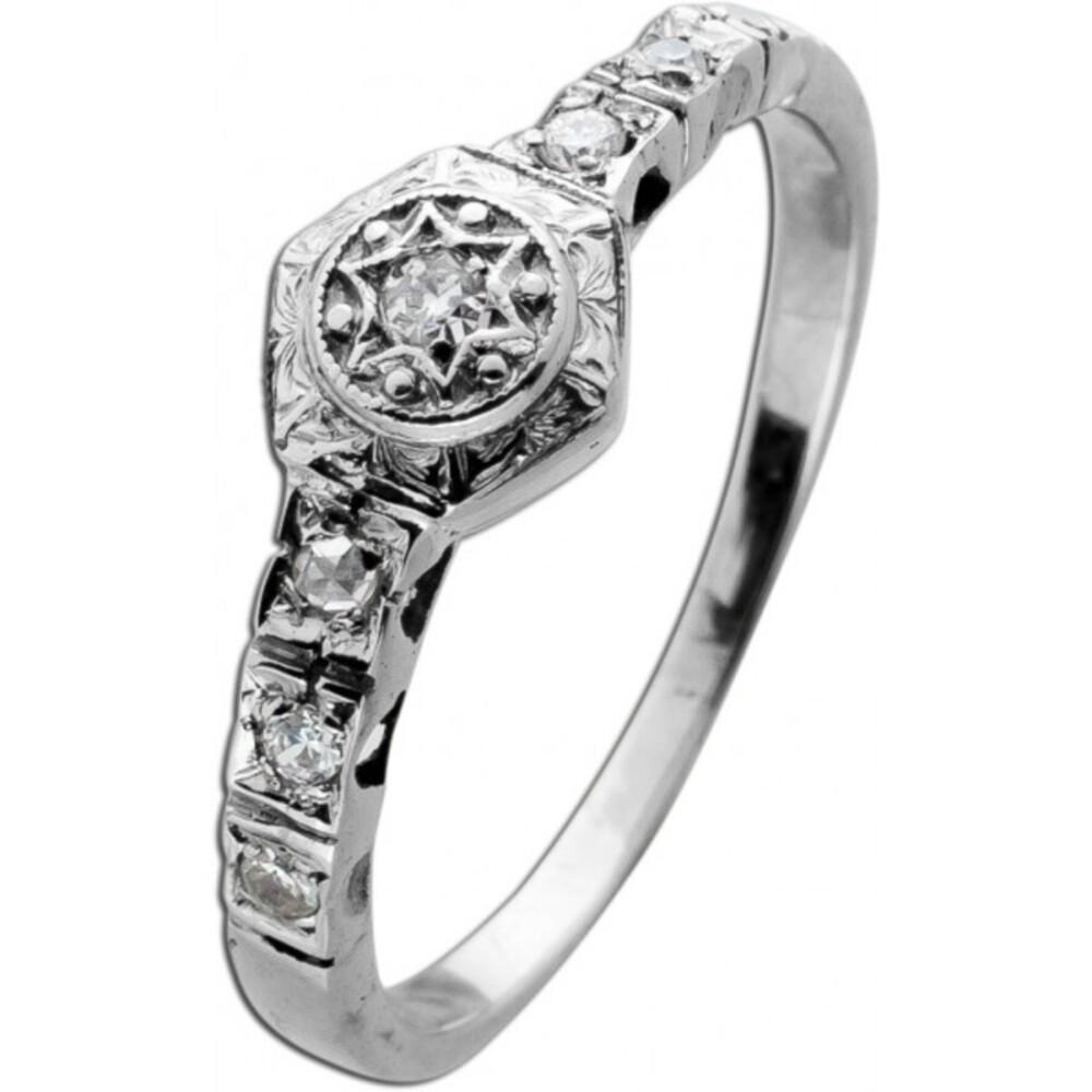 Antiker Weiß Gold Brillant Ring 585 Ring 6 Diamanten 0,09ct TW/I1 bis SI Gr. 17mm