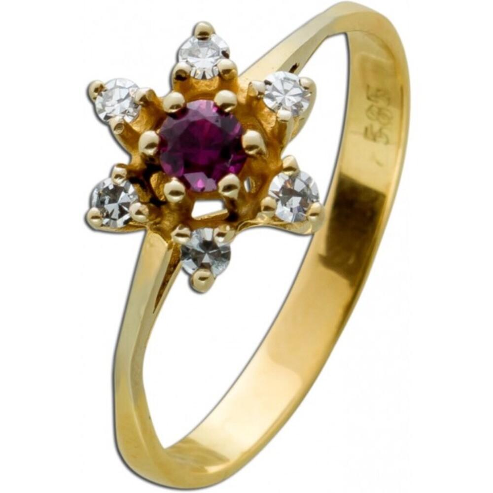 Antiker 1950 Gelbgold 585 Ring 6 Diamanten 8/8 TW/VVSI 0,15ct 1 feiner Rubin Gr.18mm