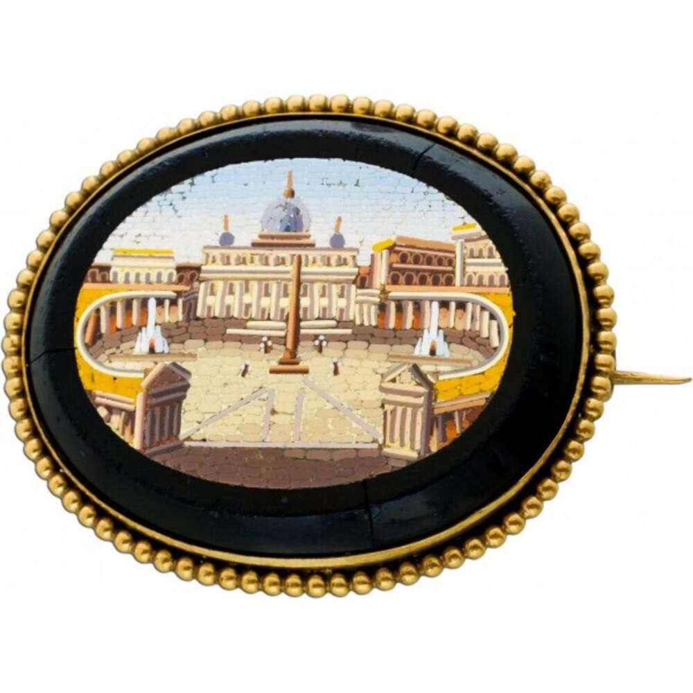 Antike Brosche 1850 Roma Eterna Gelbgold 333 Onyx Edelstein mit Ansicht des Peters Dom der Vatikanstadt Rarität