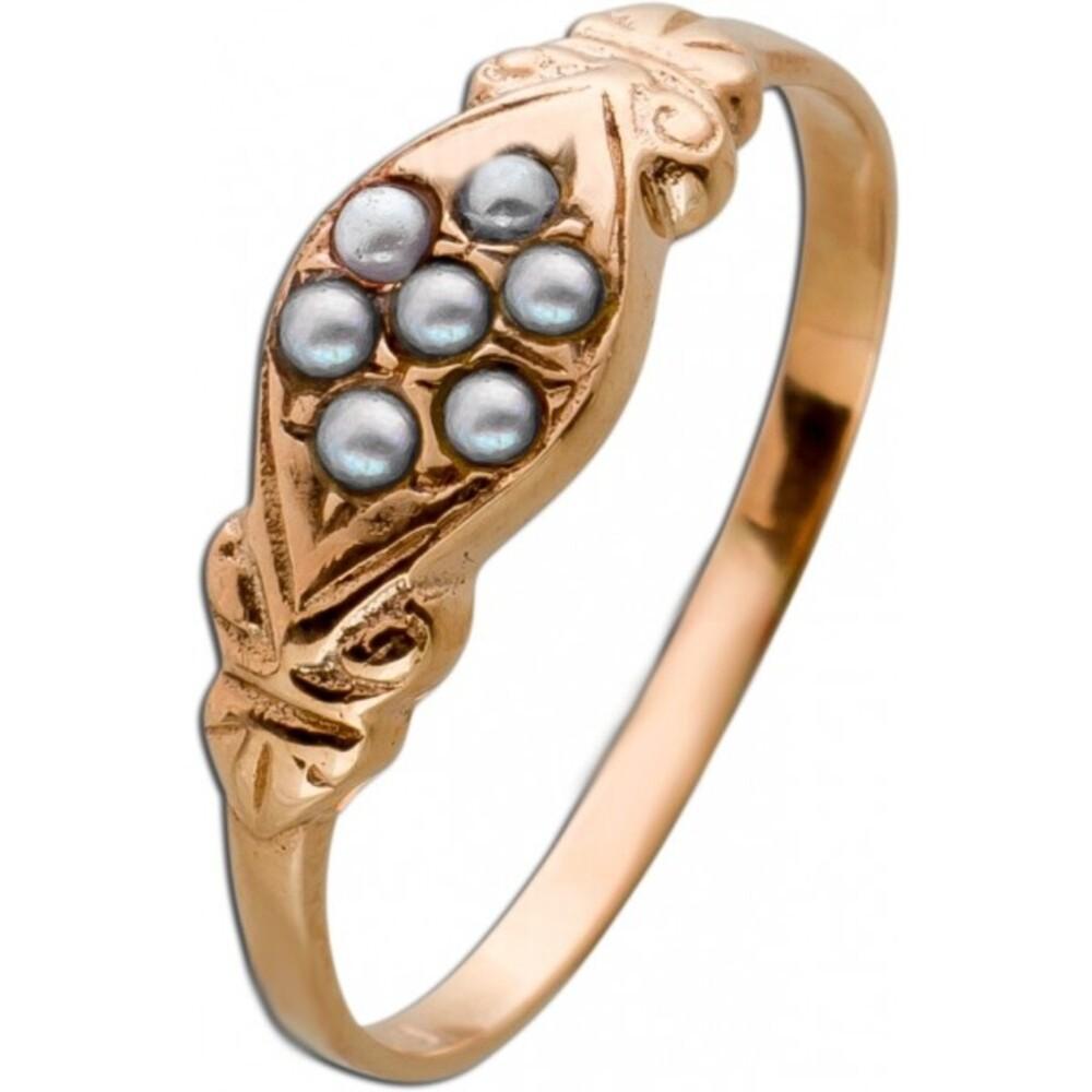 Antik 1870 Perlen Ring Gelbgold 585 feinste Flussperlen feine Goldschmiedearbeit Unikat