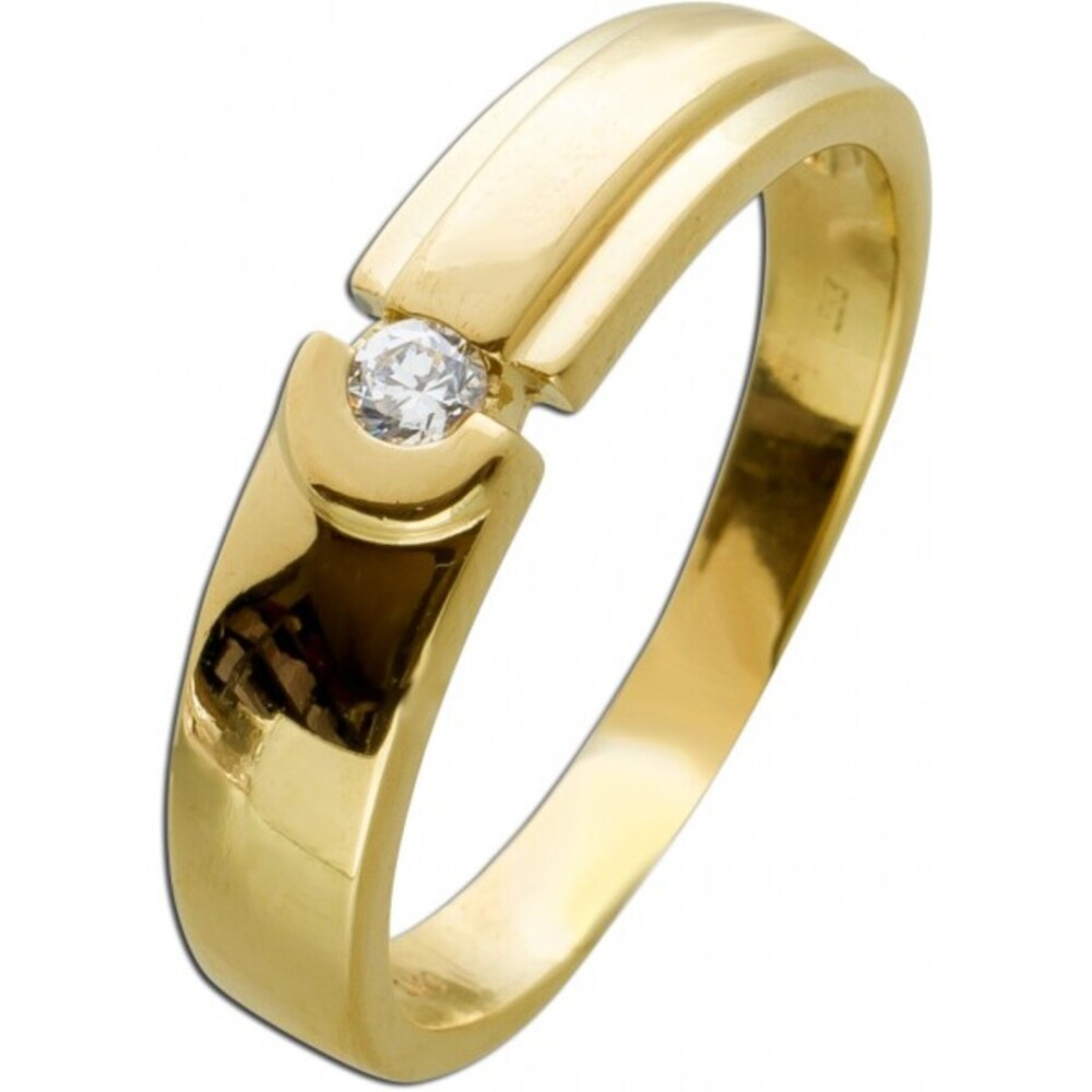 Solitärring Gelbgold 333 Brillant 0,005ct W/SI