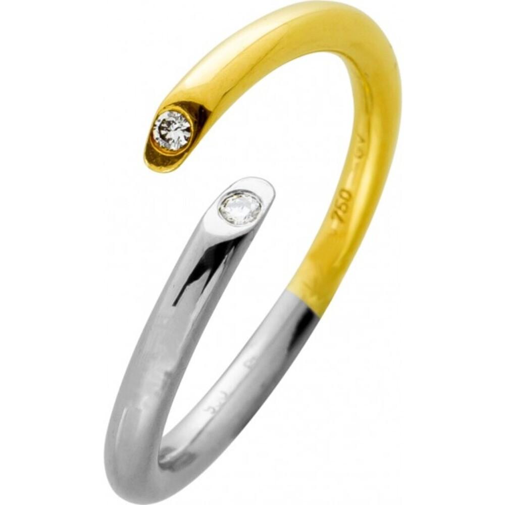 Ring Platin 950 Gelbgold 750 3 Brillanten 0,02ct TW/LP