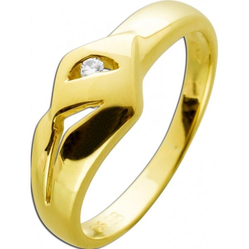 Ring Gelbgold 585 Brillant 0,025ct TW/VSI