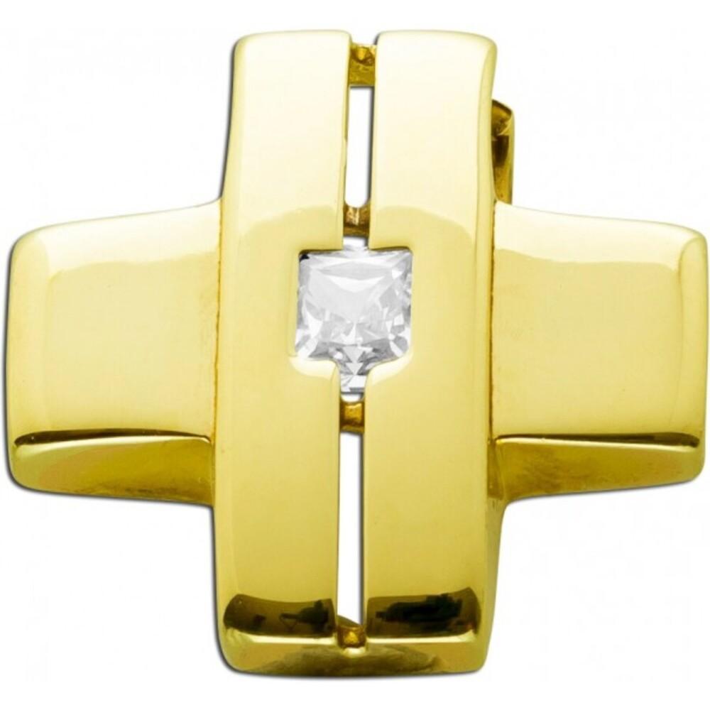 Kreuzanhänger Gelbgold 333 Zirkonia