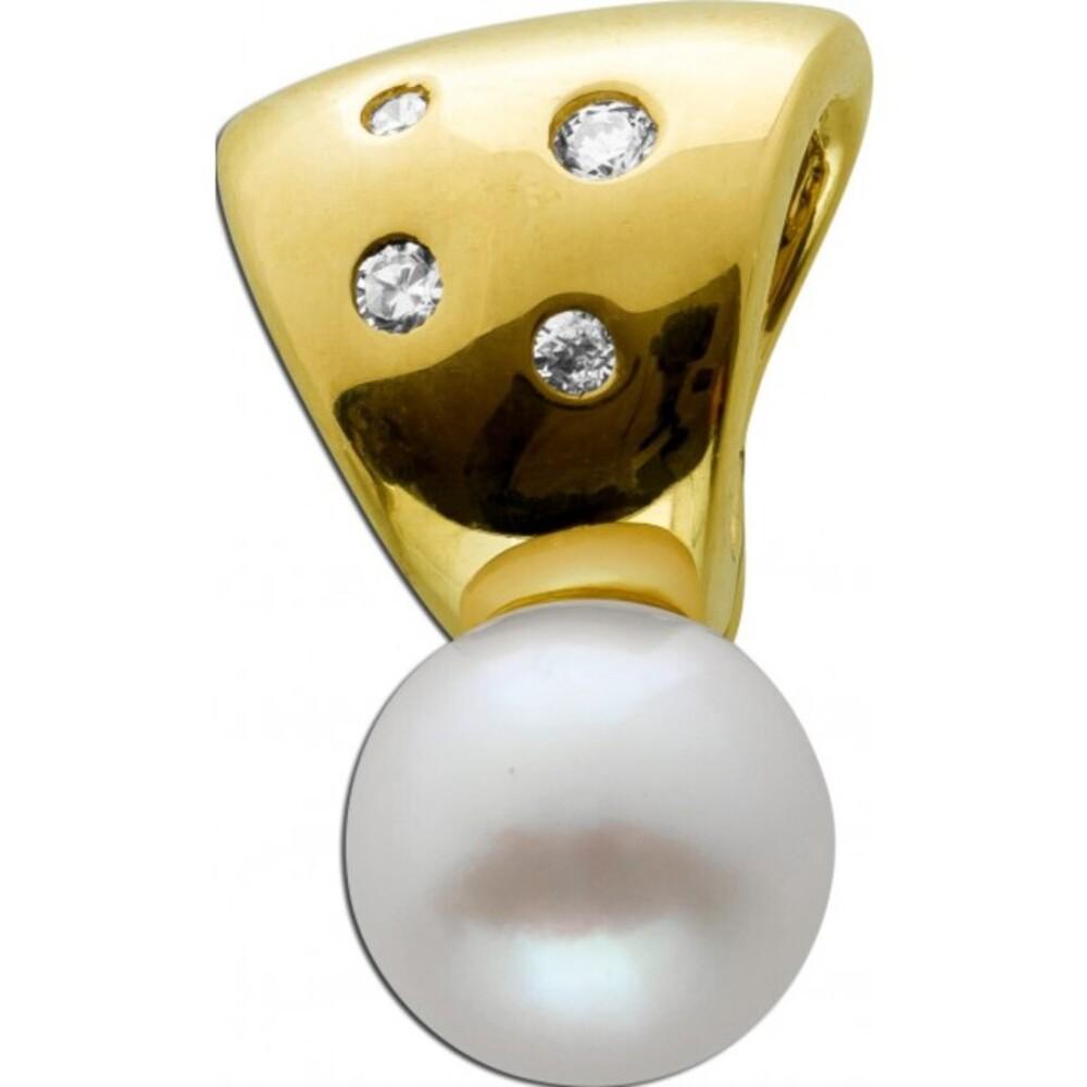 Anhänger Gelbgold 333 4 Brillanten 0,06ct W/SI Akoya Perle 8,2x8,2mm