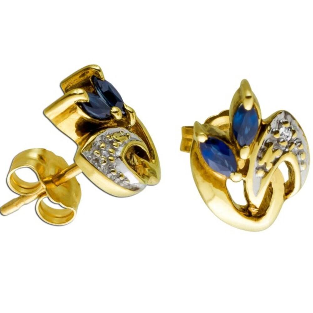 Ohrringe Gelbgold Weissgold 585 2 Diamanten 8/8 0,01ct W/SI 2 Saphir Edelsteine