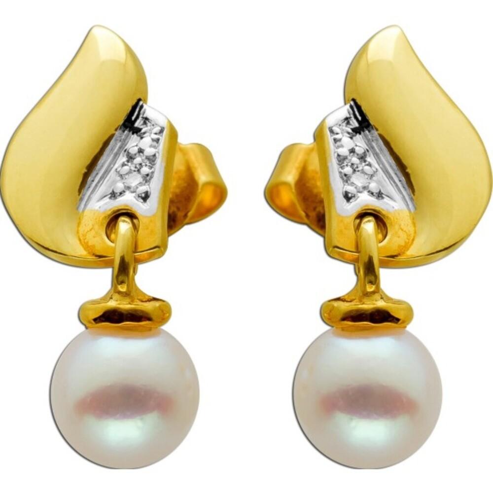 Ohrhänger Gelbgold Weissgold 585 2 Diamanten 8/8 0,02ct W/SI 2 Akoya Perlen