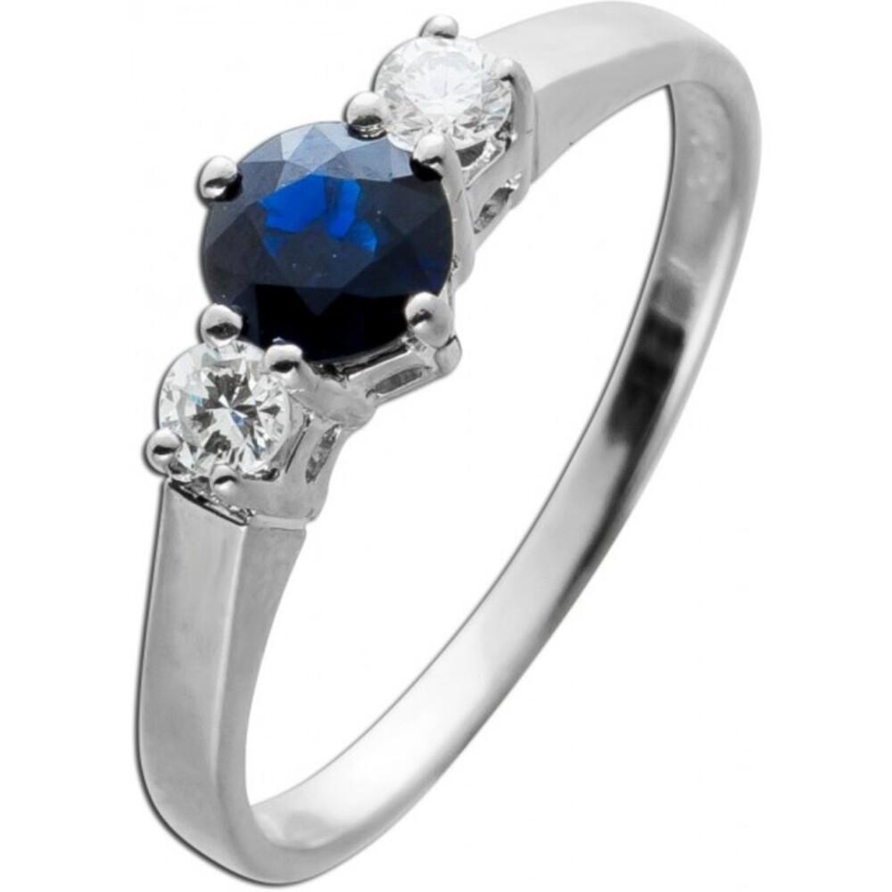 Ring Weissgold 585 2 Brillanten 0,16ct TW/VVS Saphir Edelstein 0,62ct