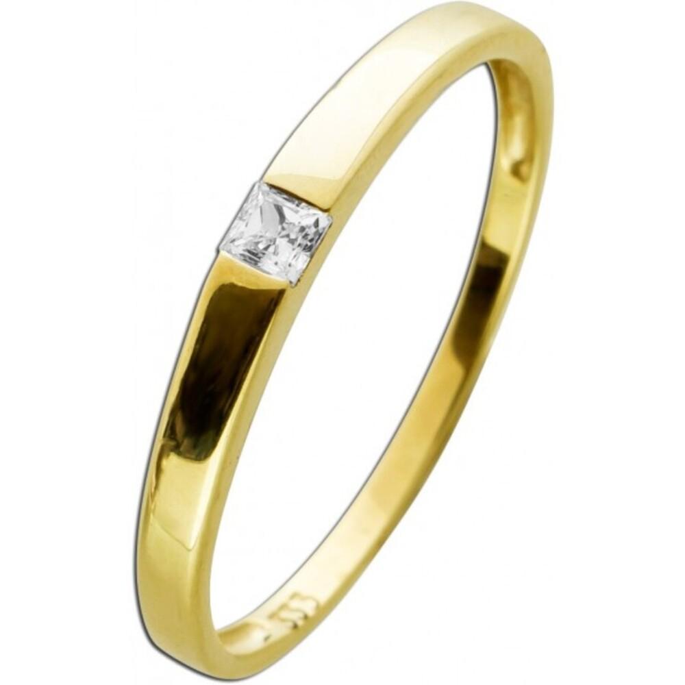 Solitärring Gelbgold 333 Diamant 0,05ct W/P1