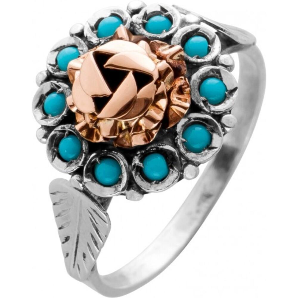 Antiker Ring Platin 950 Rosegold 750 10 Türkis Edelsteine Um 1900 TOP Zustand