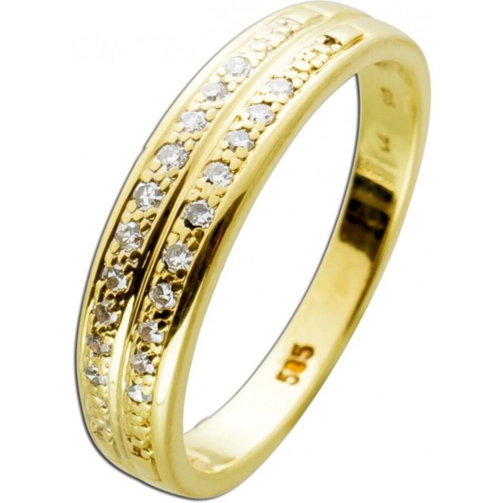Ring Gelbgold 585 20 Diamanten 8/8 0,20ct TW/SI