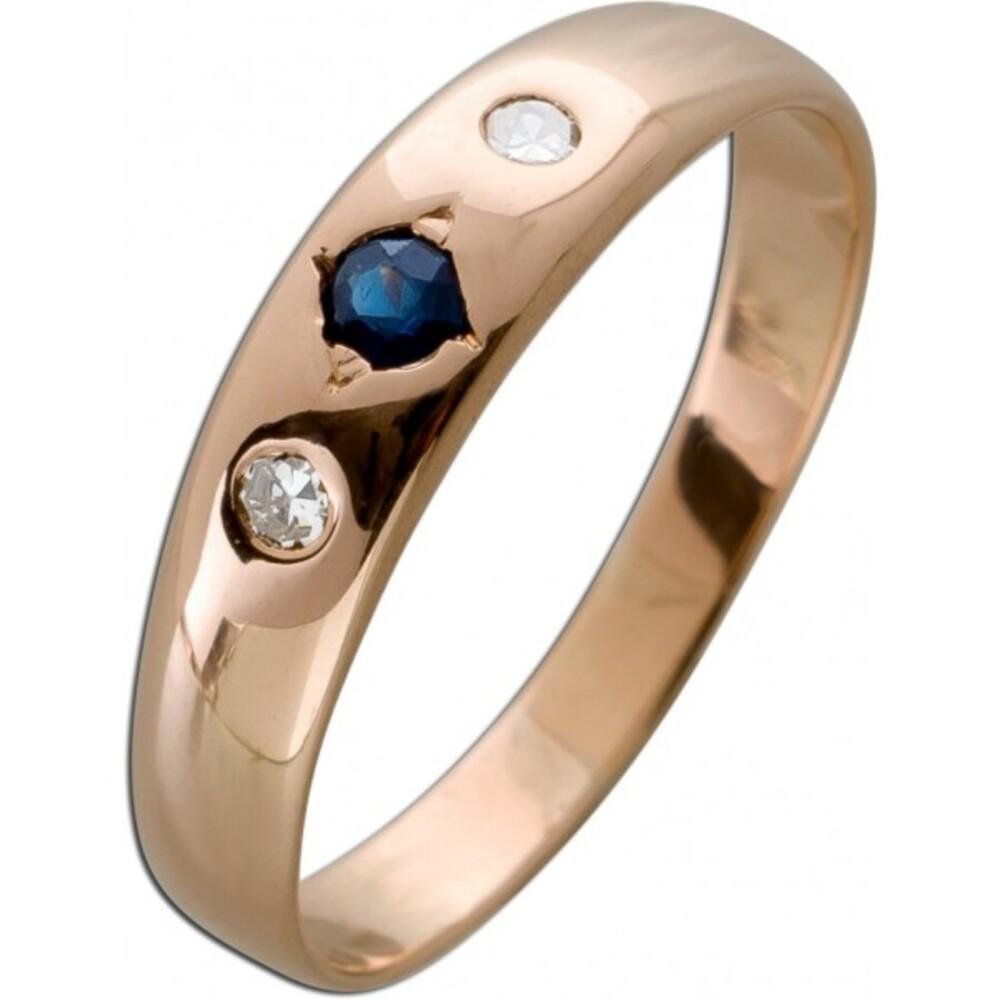 Antiker Ring Rosegold 585 2 Diamanten 8/8 0,04ct W/SI Saphir Edelstein Um 1920 TOP Zustand