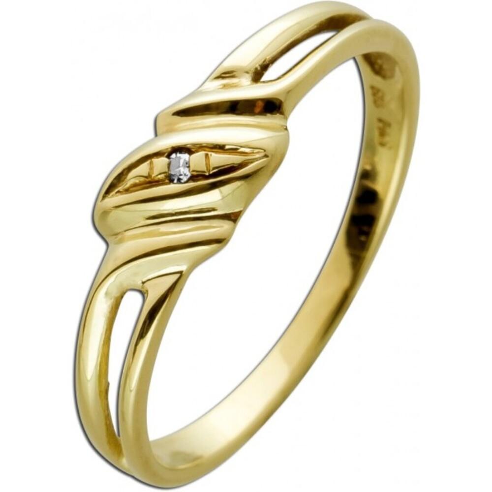 Solitärring Gelbgold 585 Diamant 8/8 0,01ct W/SI
