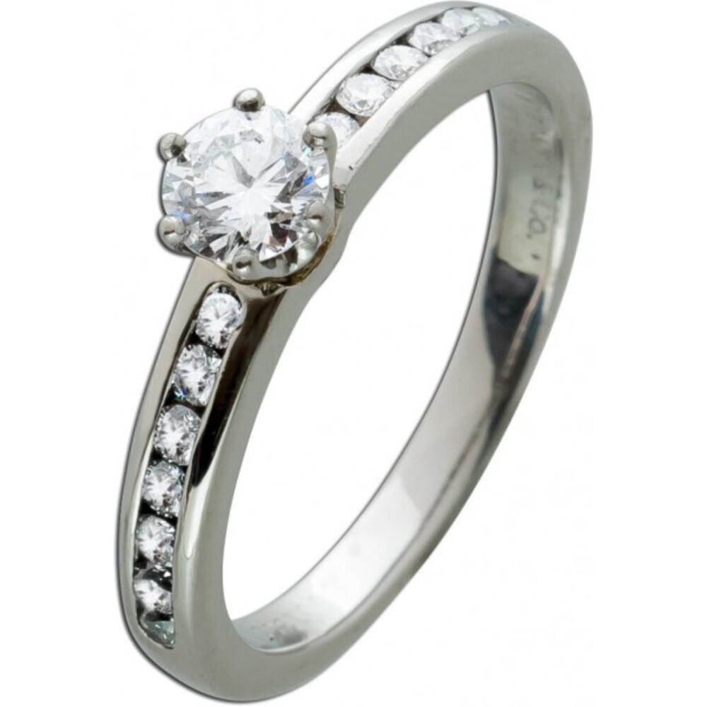 Tiffany Setting Origninal Verlobungs Ring Platin 950 1 Brillant mit 0,33ct und 14 Brillaten 0,02ct  TW/VVSI