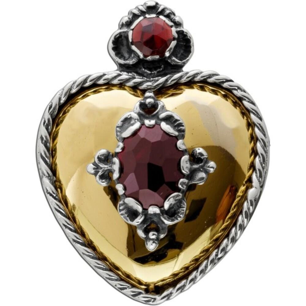 Anhänger Brosche Edelstein Herz Antik 1870 Gelbgold 14 Karat Silber 835 rot-braun leuchtende Bömische Granat Edelsteine
