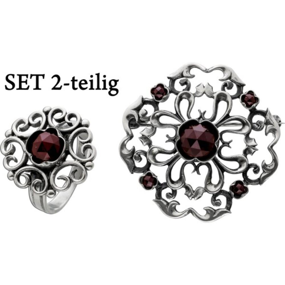 Antikes Set Brosche und Ring 1900 Silber 800 Granat Edelsteine Blütendesign verspielt Neuwertig