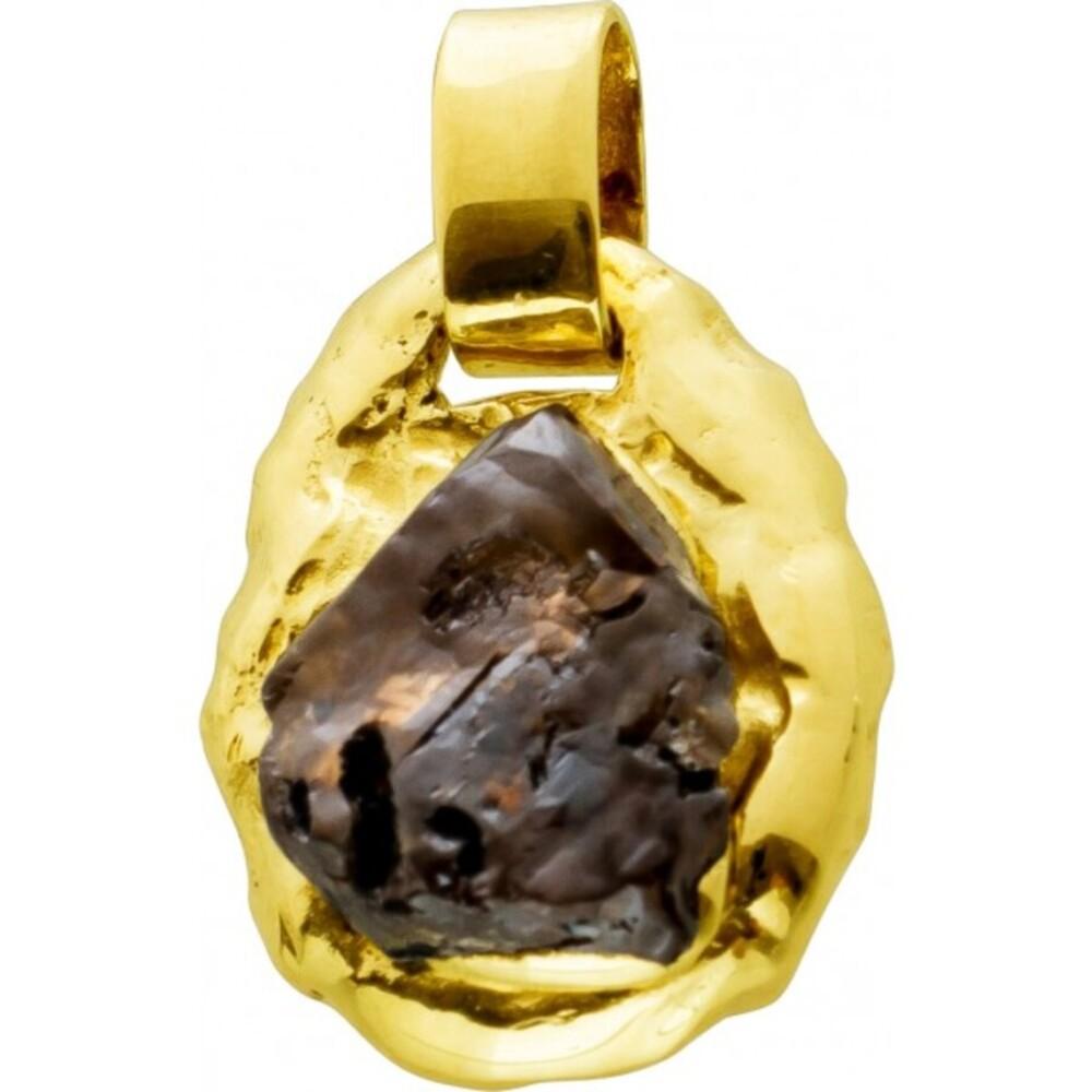 Antiker Goldanhänger Nugget 1970 Gelbgold 14 Karat Pyrit Mineral Edelstein Neuwertig