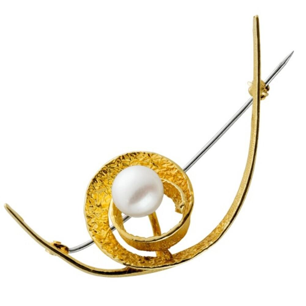 Antike Brosche Anstecknadel 1960 Gelbgold Weißgold 585 Akoya aus Japan AAA Perlen Qualität Rose Perlenlustre feinste Goldschmiede Meisterleistung Neuwertig