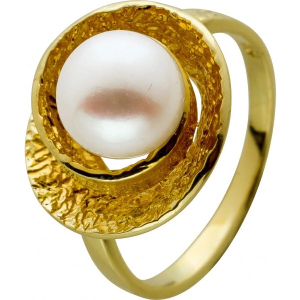 Antiker Akoyaperlen Ring 1960 Gelbgold 14Karat AAA Perlen Qualität aus Japan Rose Top Lustre 8,5mm Designer Goldschmiede Meisterleistung Neuwertig