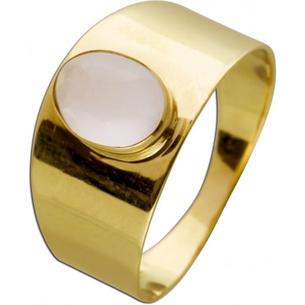 Rosenquarz Ring Gelbgold 333 Rosenquarz Edelstein Rose schimmernd Cabochon Schliff 8x6mm Größe 17,7mm änderbar!