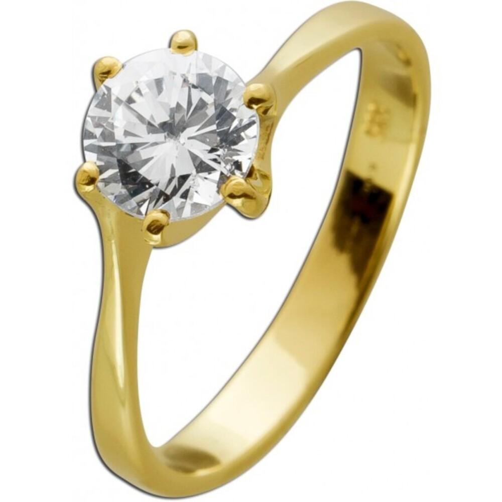 Klassicher Solitär Ring Gelbgold 585 brillantfunkelnder Zirkonia Optik 1,00ct. Krappe gefasst Größe 18mm auf Wunsch änderbar