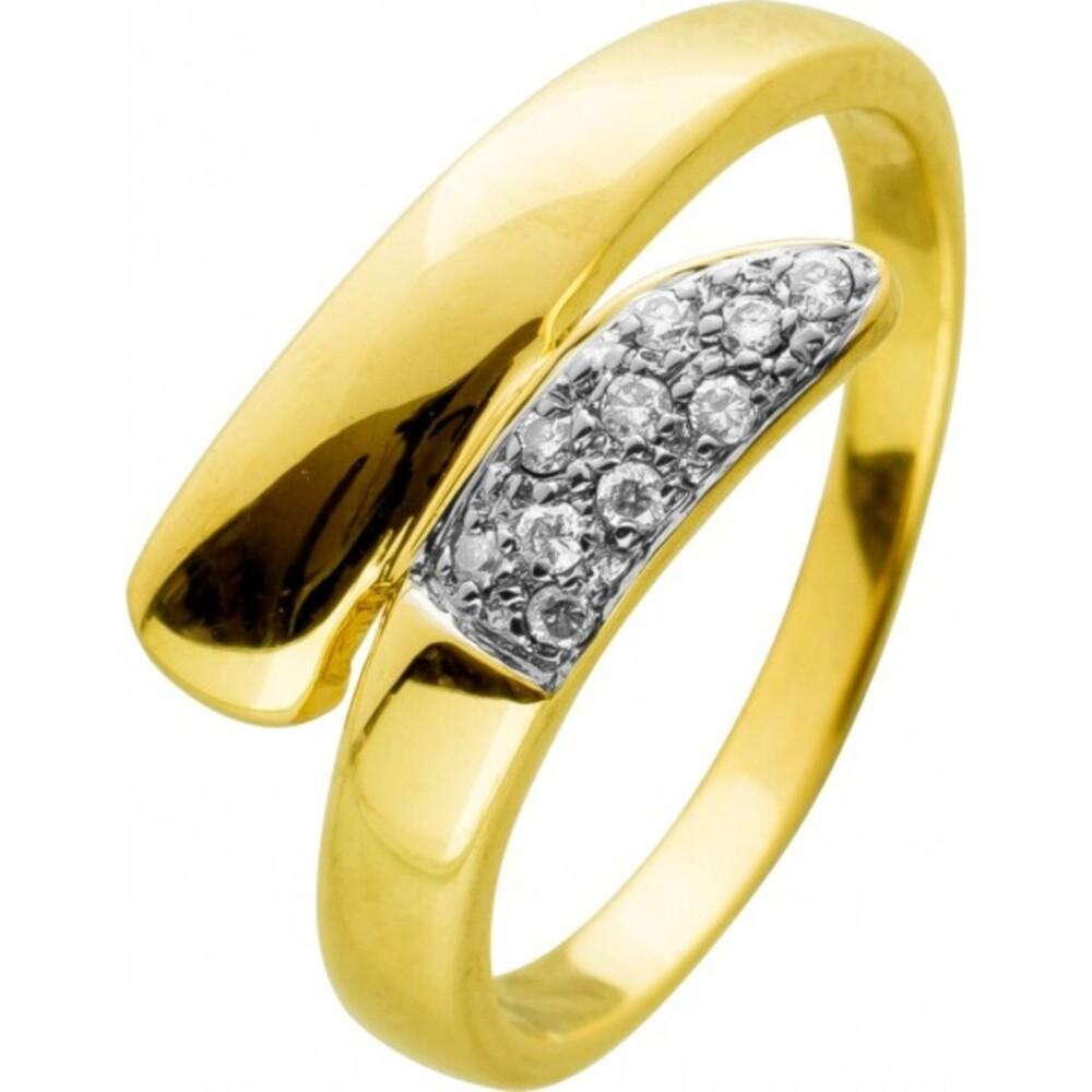 Brillantring Gelbgold 18 Karat 10 Brilanten im 750 Weißgoldbett 0,10ct. 750 gefasst Ringgröße 18mm auf Wunsch änderbar