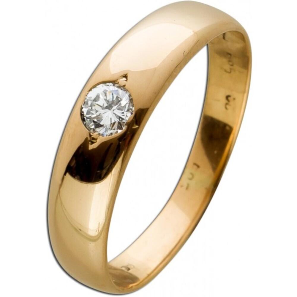 Antiker Brillantring Solitärring von 1950 Gelbgold 585 leicht Rosegold Brillant 0,10ct TW/VSI Ringgröße 15,7mm änderbar Top Zustand