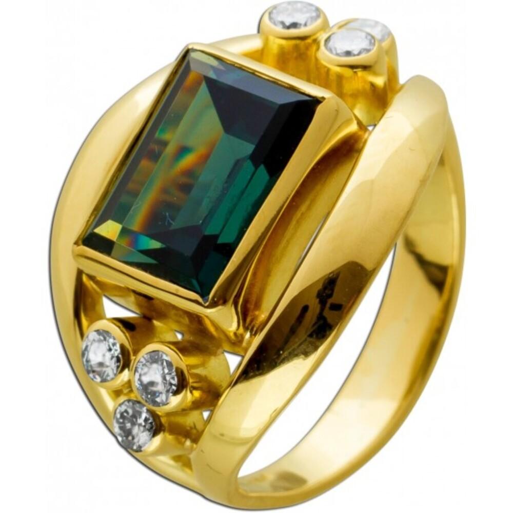 Antiker Turmalin Brillant Edelsteinring von 1950 Gelbgold 585 Turmalin Emerald Cut 6 Brillanten 0,30ct. TW/VVSI Ringgröße 18mm änderbar Neuwertig