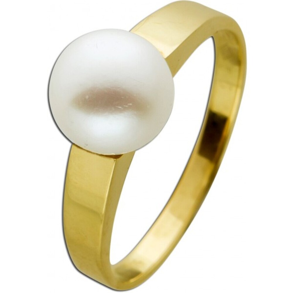 Antiker Perlenring 1970 Gelbgold 585 Akoyaperle aus Japan AAA Perlenqualität Weißes Perlenlustre Top Größe 17,6mm änderbar