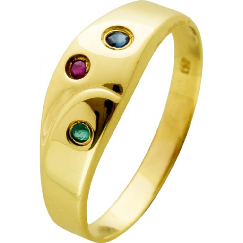 Antiker Edelsteinring 1980 Gelbgold 333 roter Rubin blauer Saphir grüner Smaragd Edelstein Ringgröße 18,5mm