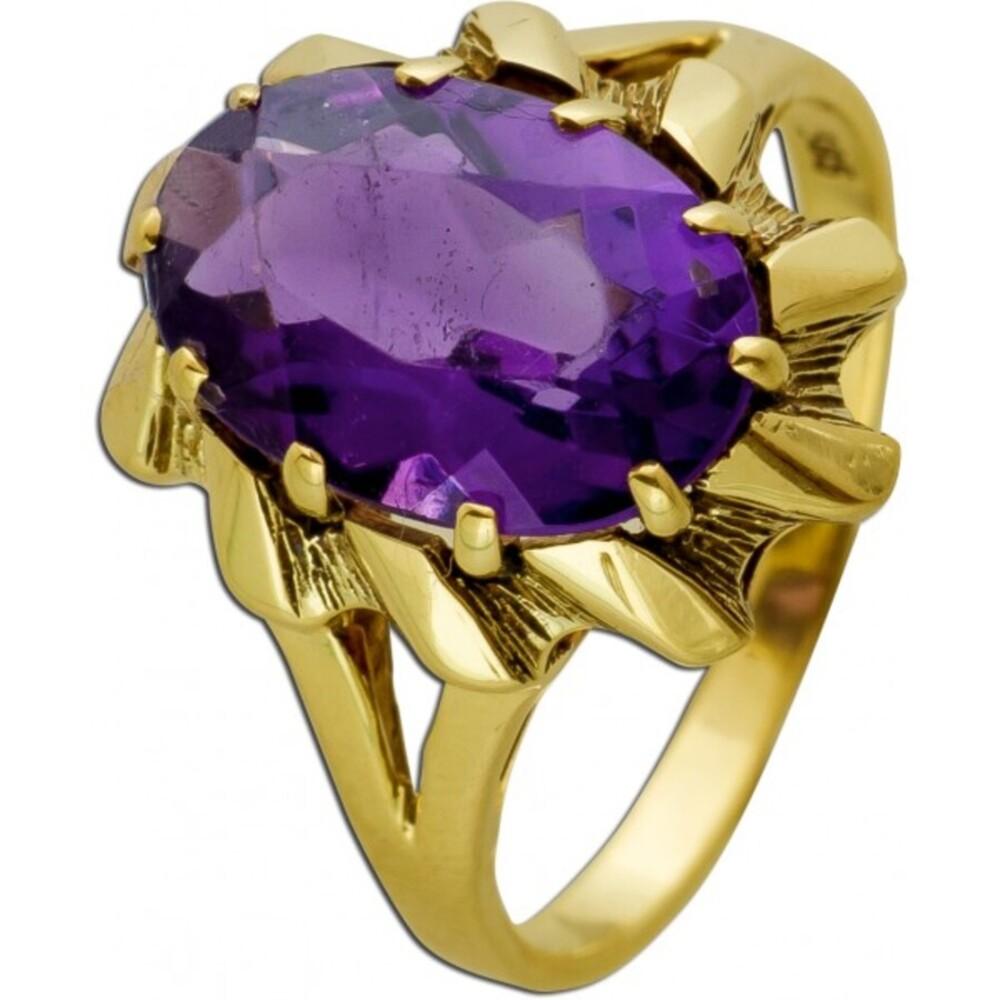 Antiker Ring um 1930 Gelbgold 14 Karat  1 Amethyst Edelstein Goldring