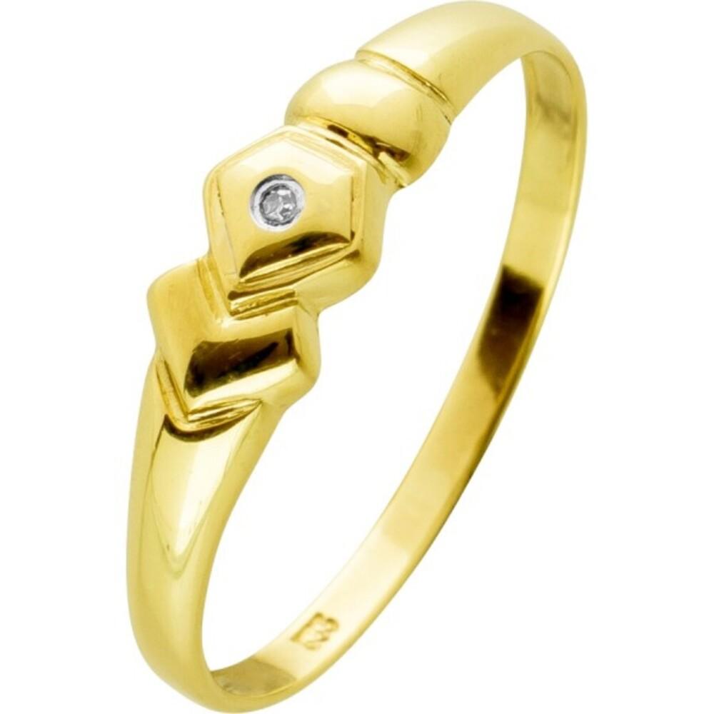 Ring Gelbgold 8 Karat 1Diamant 0,05ct 8/8 W/I1geometrisches Design