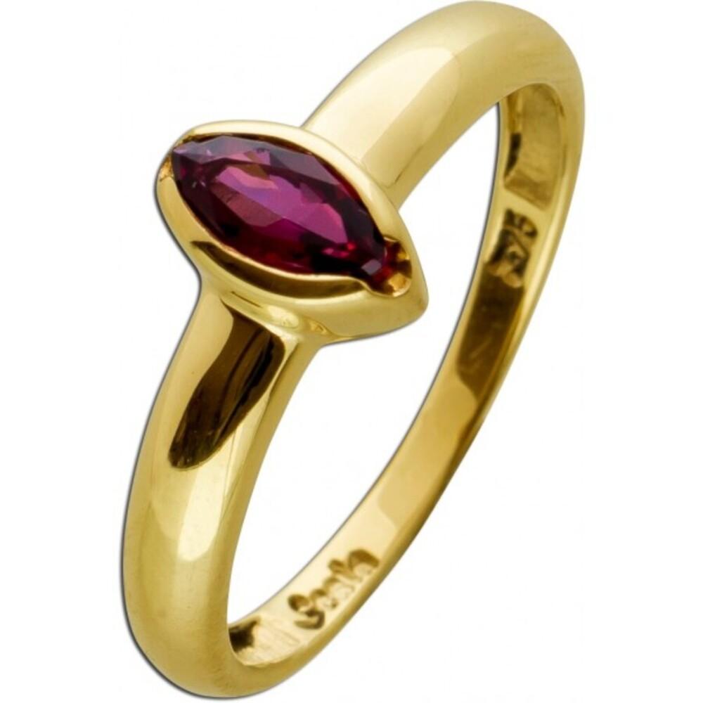 Ring Gelbgold 9 Karat 1 marquis facettierter Granat Edelstein Goldring