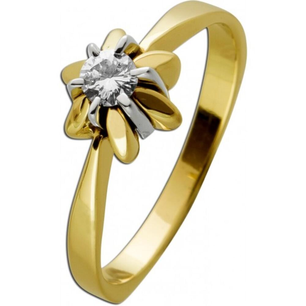 Antiker Ring um 1950 Gelbgold 14 Karat 1 Diamant im Brillantschliff 0,175ct TW/VSI Diamantring Goldring