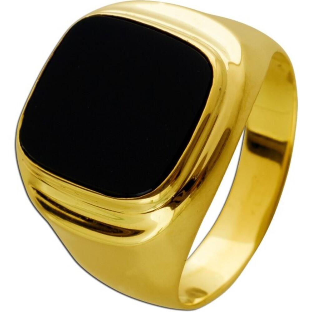 Antiker Herren Siegelring um 1970 Gelbgold 585 1 Onyx Edelstein Goldring