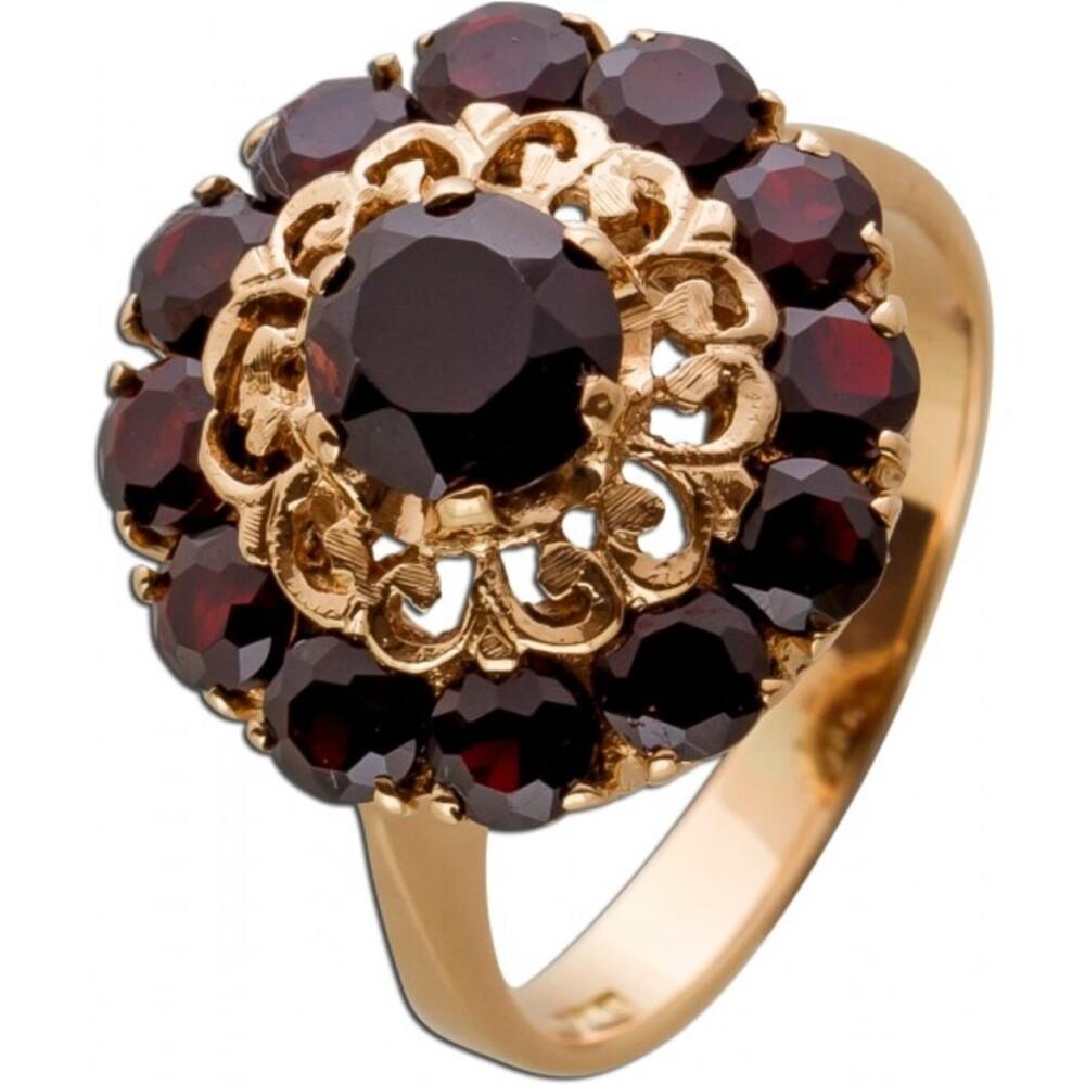 Antiker Ring um 1900 GelbGold 585 15 bömische Granat Edelsteine