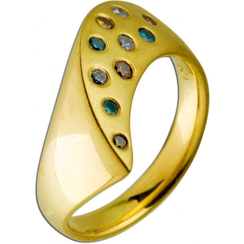 Designer Ring Gelbgold 18 Karat 3 blaue 4 braune 3 weiße Diamanten im Brillantschliff  zus. 0,20ct SI Iced Out