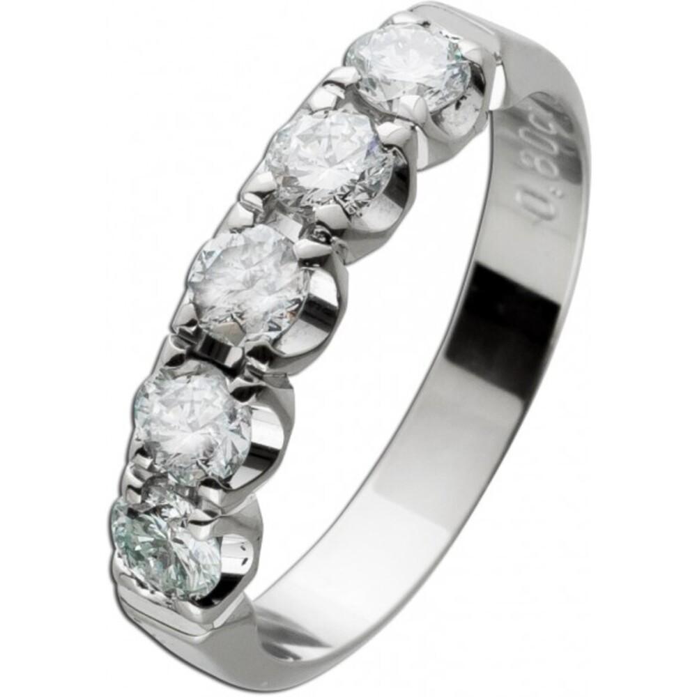 Memoire Alliance Ring Weißgold 18 Karat 6 Diamanten im Brillantschliff Total 0,80ct  W/P1 Diamantring Iced Out