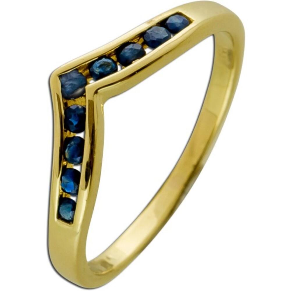 Antiker Ring 1970 Gelb Gold 8 Karat 9 echte blaue Saphir Edelsteine V Förmig
