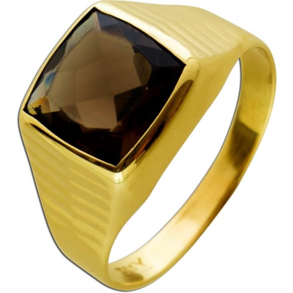 Antiker Herren Damen Ring um 1950 8 Karat Gelbgold 1 Rauchquarz Edelstein Ringgröße 19,5mm