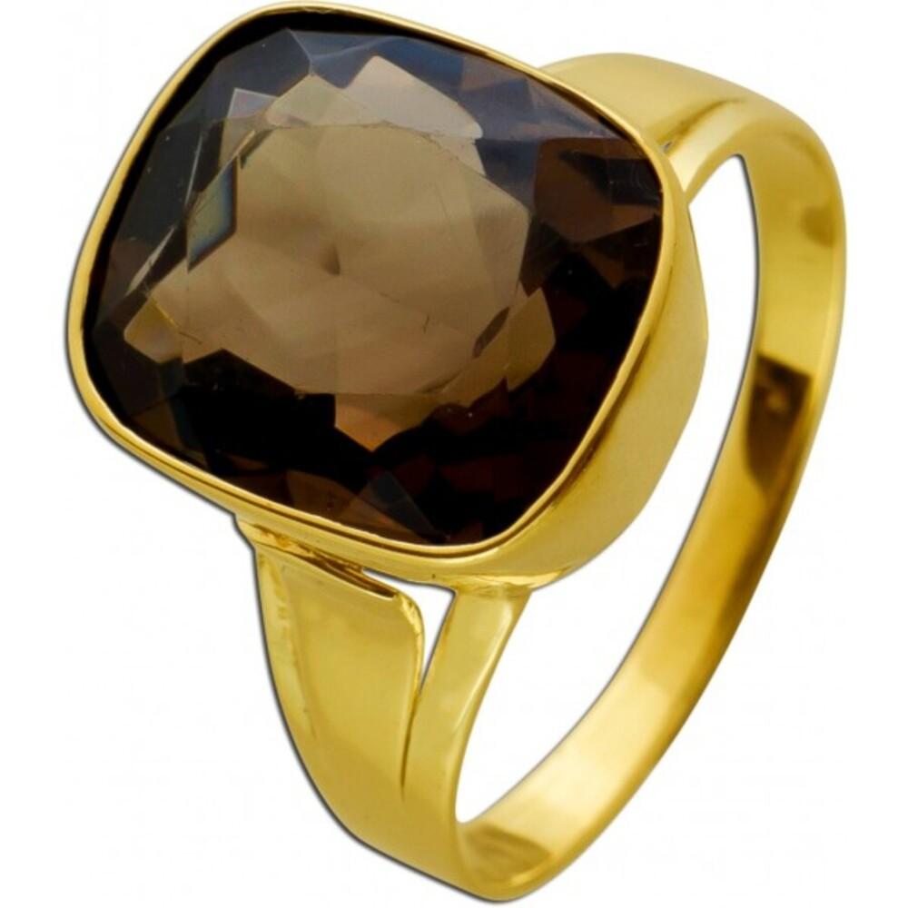 Antiker Ring 1930 Gelbgold 14 Karat 1 echter Rauchquarz Edelstein Ringgröße 18mm