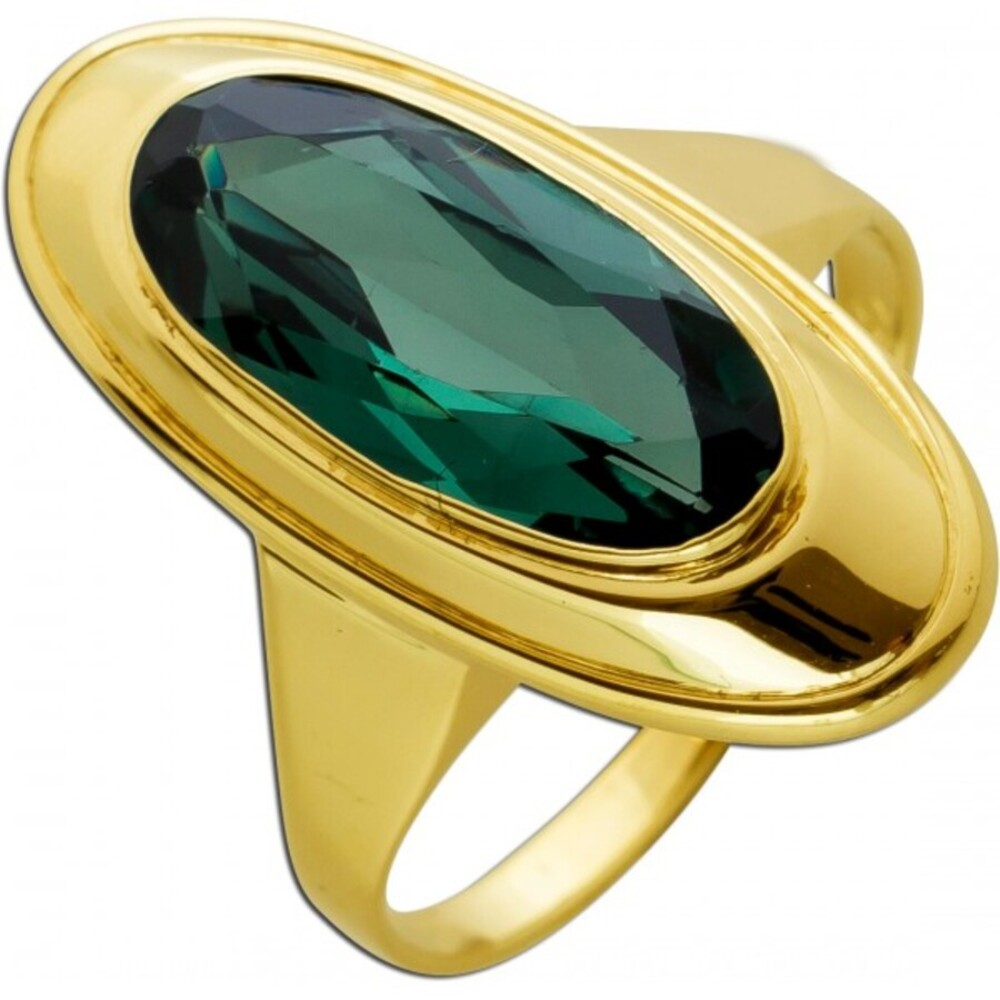 Antiker Ring 1930 Gelb Gold 14 Karat 1echter Turmalin Edelstein Ringgröße 17,9mm