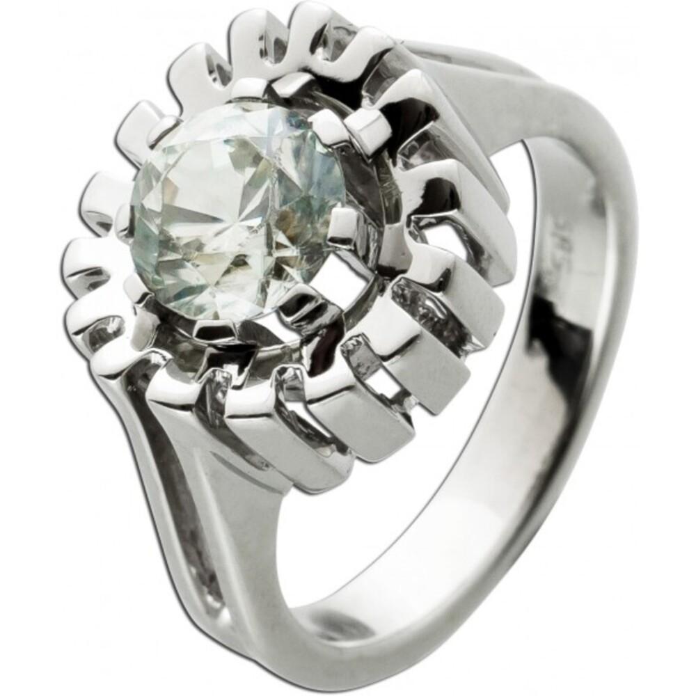 Antiker Ring 1950 Weißgold 14 Karat 1echter Topas Edelstein in der Optik eines Diamanten
